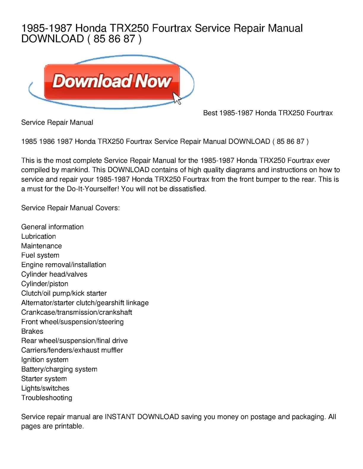 Fb405d Honda Trx 250 1985 1987 Service Repair Manuals Download Wiring Library