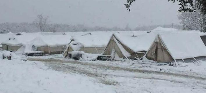 Το χιόνι βούλιαξε τις σκηνές των προσφύγων στην Πέτρα Ολύμπου -Συγκλονιστικές εικόνες
