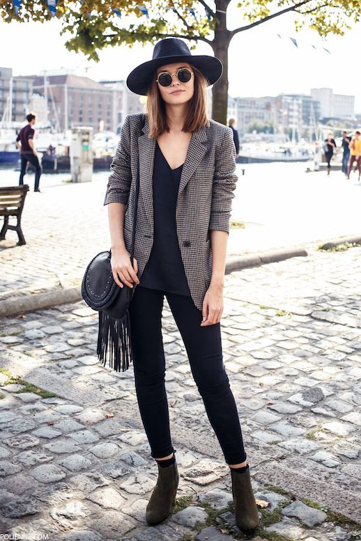 Le Fashion Blog Blogger Paulien Fedora Round Sunglasses Houndstooth Blazer V Neck Top Fringe Purse Skinny Jeans Suede Ankle Boots Via Polienne Creators Of Desire