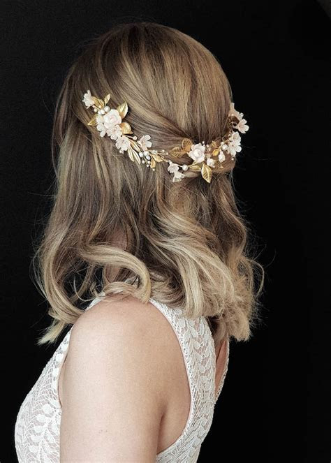 HELENA   Blush and gold wedding headpiece   TANIA MARAS