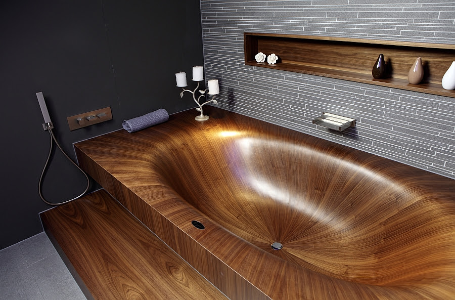 Luxurious And Dramatic Wooden Bathtubs Make A Bold Visual ...