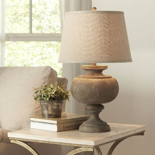 Birch Lane lamp from wayfair with woodgrain base and natural shade