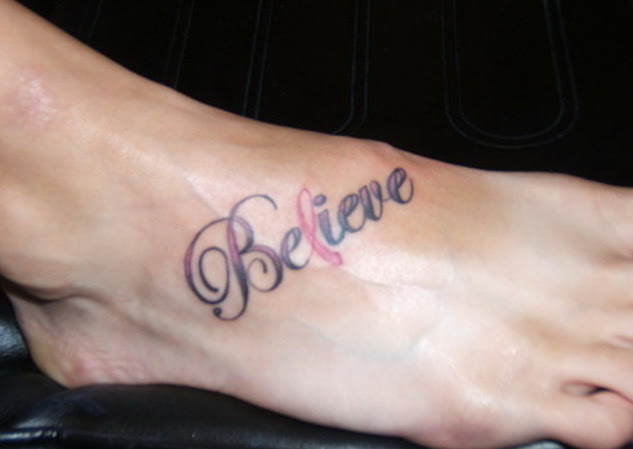 Believe Ribbon Cancer Tattoo On Right Foot
