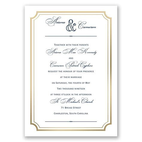 Gold Frame Wedding Invitation   Ann's Bridal Bargains