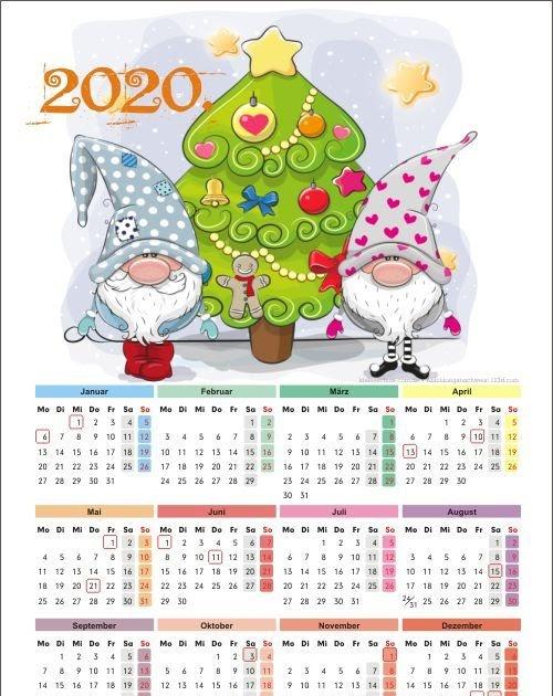 Jahreskalender 2021 Pdf Kostenlos - Monatskalender 2020 ...