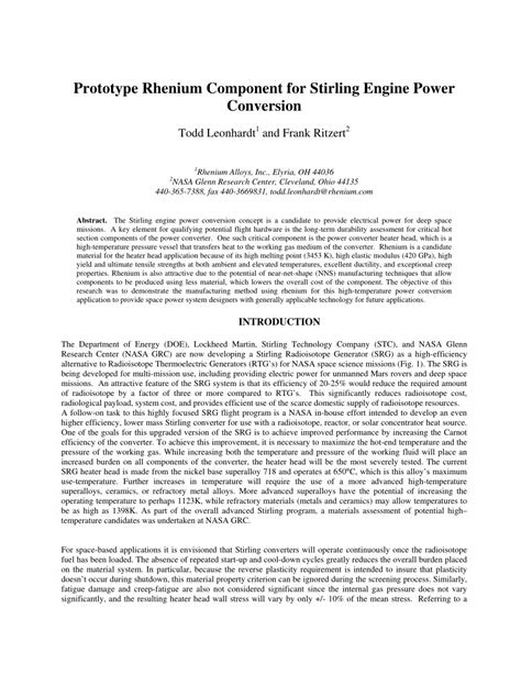 (PDF) Prototype Rhenium Component for Stirling Engine