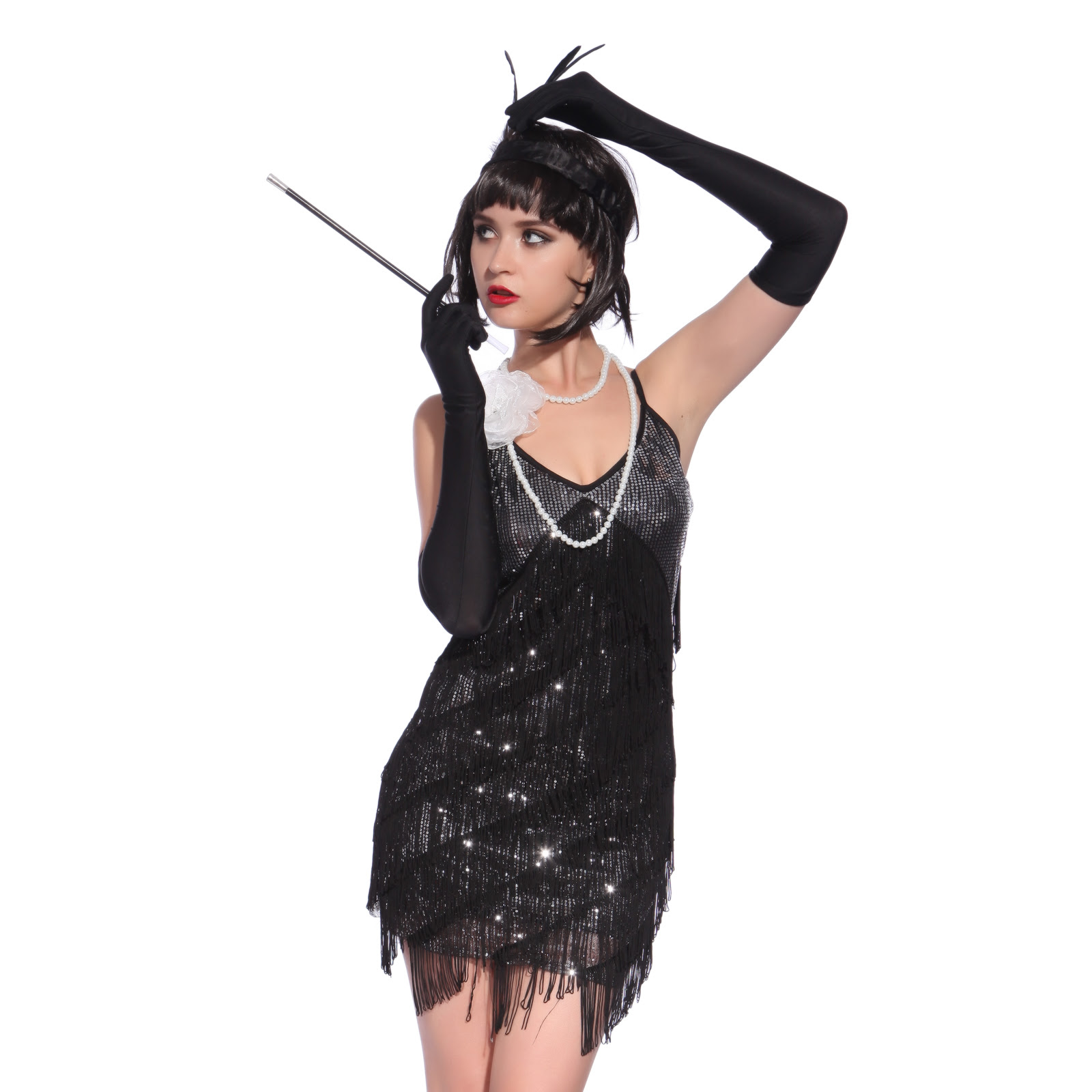 vintage 1920s flapper girl sequin fringed costume cocktail