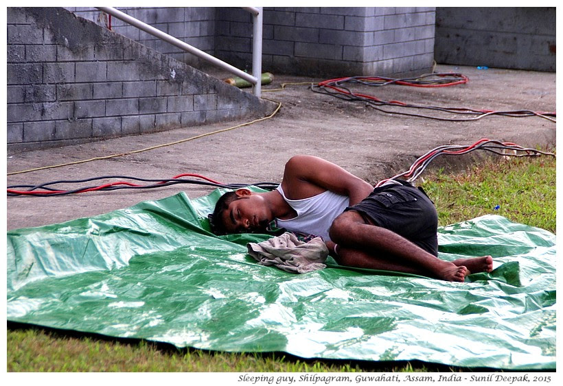 Guy sleeping, Rock Music Concert, Guwahati, Assam, India - Images by Sunil Deepak