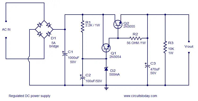 zener regulated dc power supply