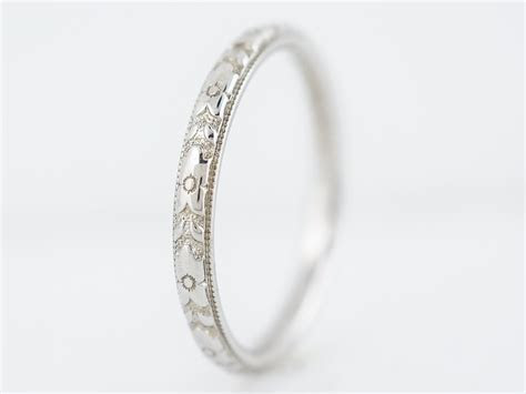Antique Orange Blossom Wedding Band in 18k White Gold