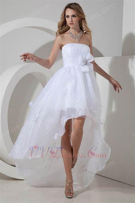 Informal High low Skirt Beach Wedding Dress With Flower