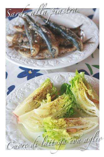 Sarde alla piastra e cuore di lattuga con aglio