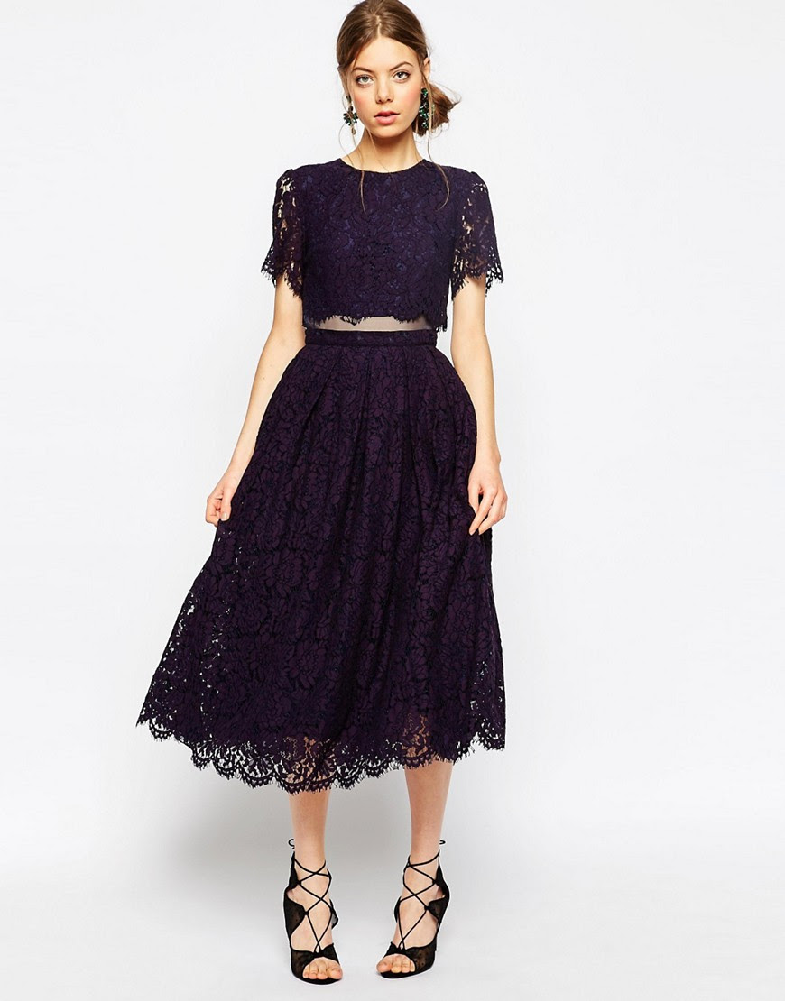 Image 1 of ASOS Lace Crop Top Midi Prom Dress