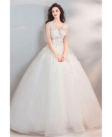 Fairy Pure White Floral Ball Gown Cheap Wedding Dress