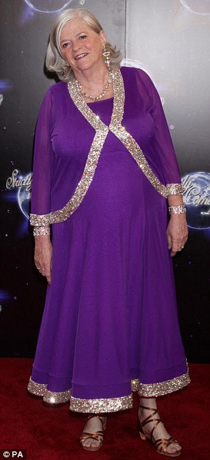 Dancing queens: Actress Felicity Kendall struck a pose in a dark blue dress while Tory MP Anne Widdecombe was an elegant figure in purple