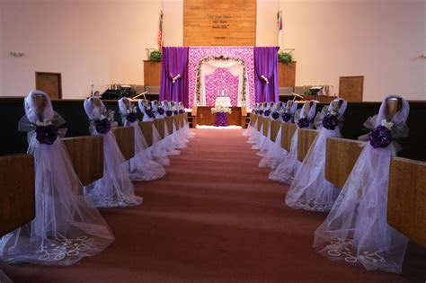 purple wedding decorations chair bows pew bows satin