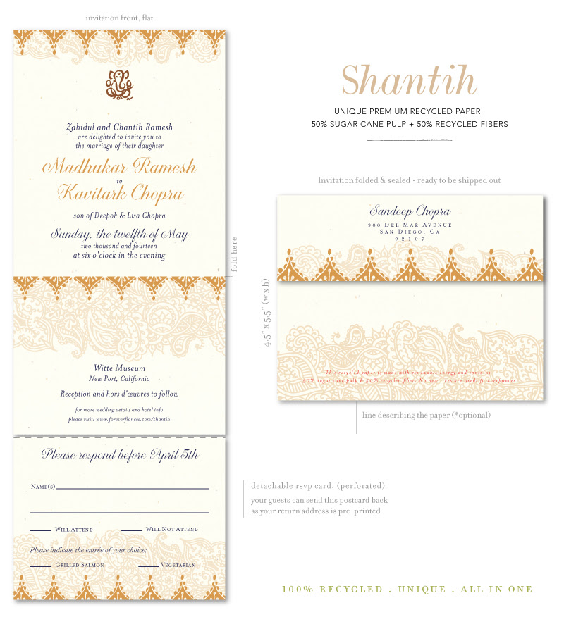 Recycled Shantih Invitations