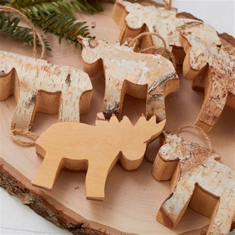 Rustic Birch Moose Ornaments   Decorative Accents