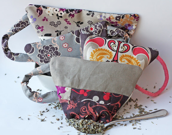 Fabric lavender tea cups