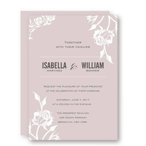 Elegant pink mauve wedding invitations, white floral, fall