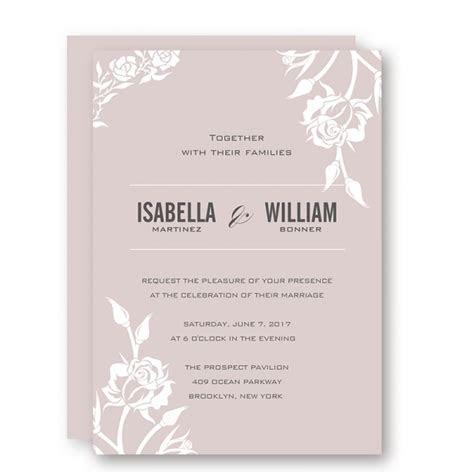 Elegant pink mauve wedding invitations, white floral, fall