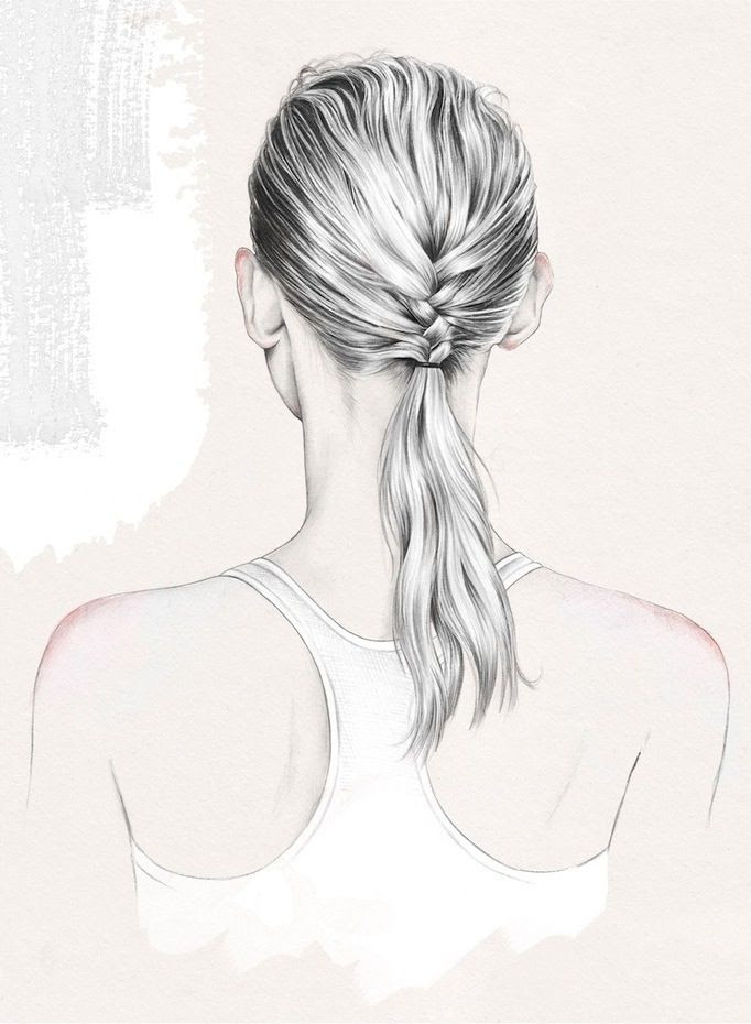 Le Fashion Blog Beauty Post Gym Hair Inspiration Slick Wet Look Low Ponytail French Braid Updo Hairstyle Esra Roise Illustration Via Urban Outfitters