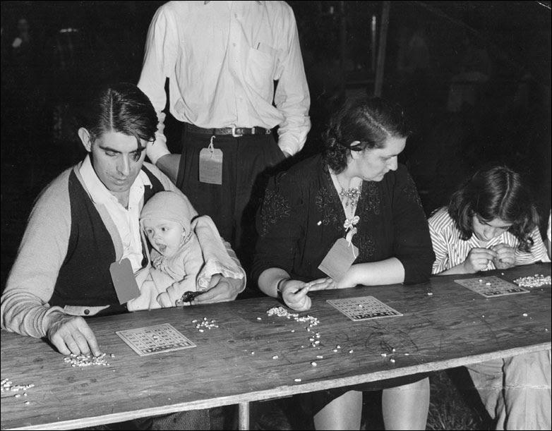 A family play Bingo