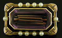 Hans Brassler brooch set with amethyst and pearls. (J9140)
