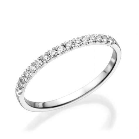 Half Eternity Wedding Band, 14K White Gold Ring, 0.12 CT