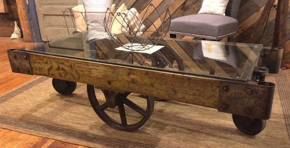 Yellow Chair Market » Glass Top Industrial Cart Coffee Table