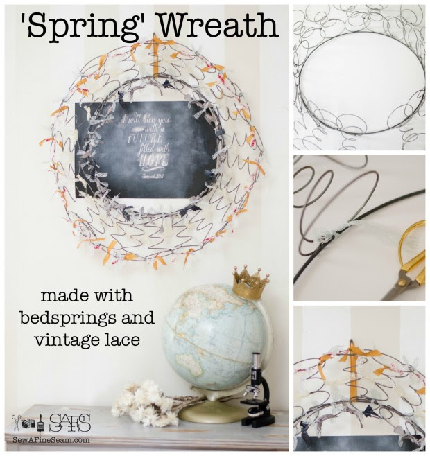 spring wreath - spring decor made of bedsprings and vintage lace and ribbon