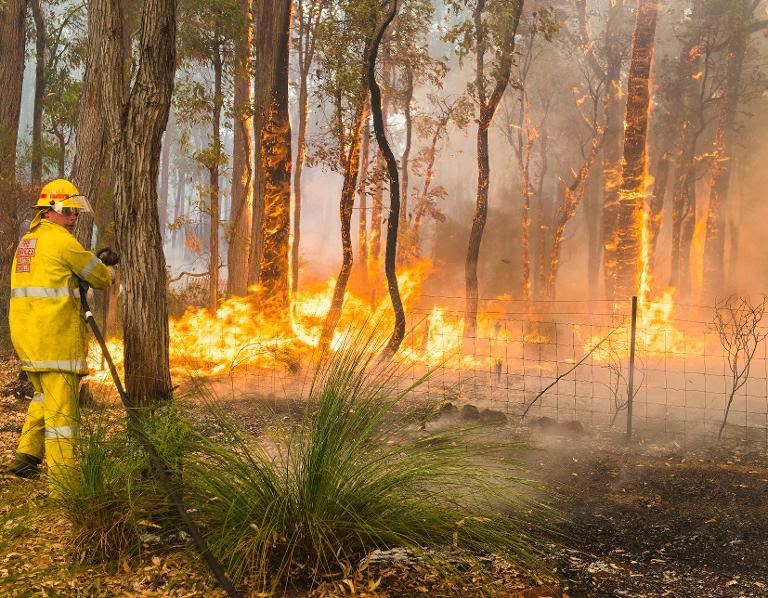 This handout photo taken on January 12, 2014 and supplied by Australia's Department of Fire and Emergency Services (DFES) shows firefighters working to contain wildfires in the Stoneville area, a suburb east of Perth in Western Australia