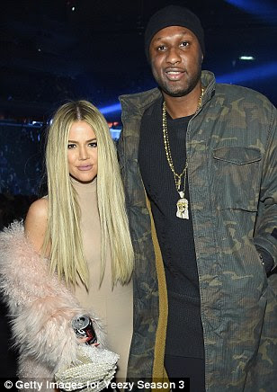 Two by two: Many of the Kardsahian-Jenner clan brought along partners for the evening. Kris attended on the arm of boyfriend Corey Gamble, Kylie brought Tyga and Khloe was accompanied by Lamar (pictured)
