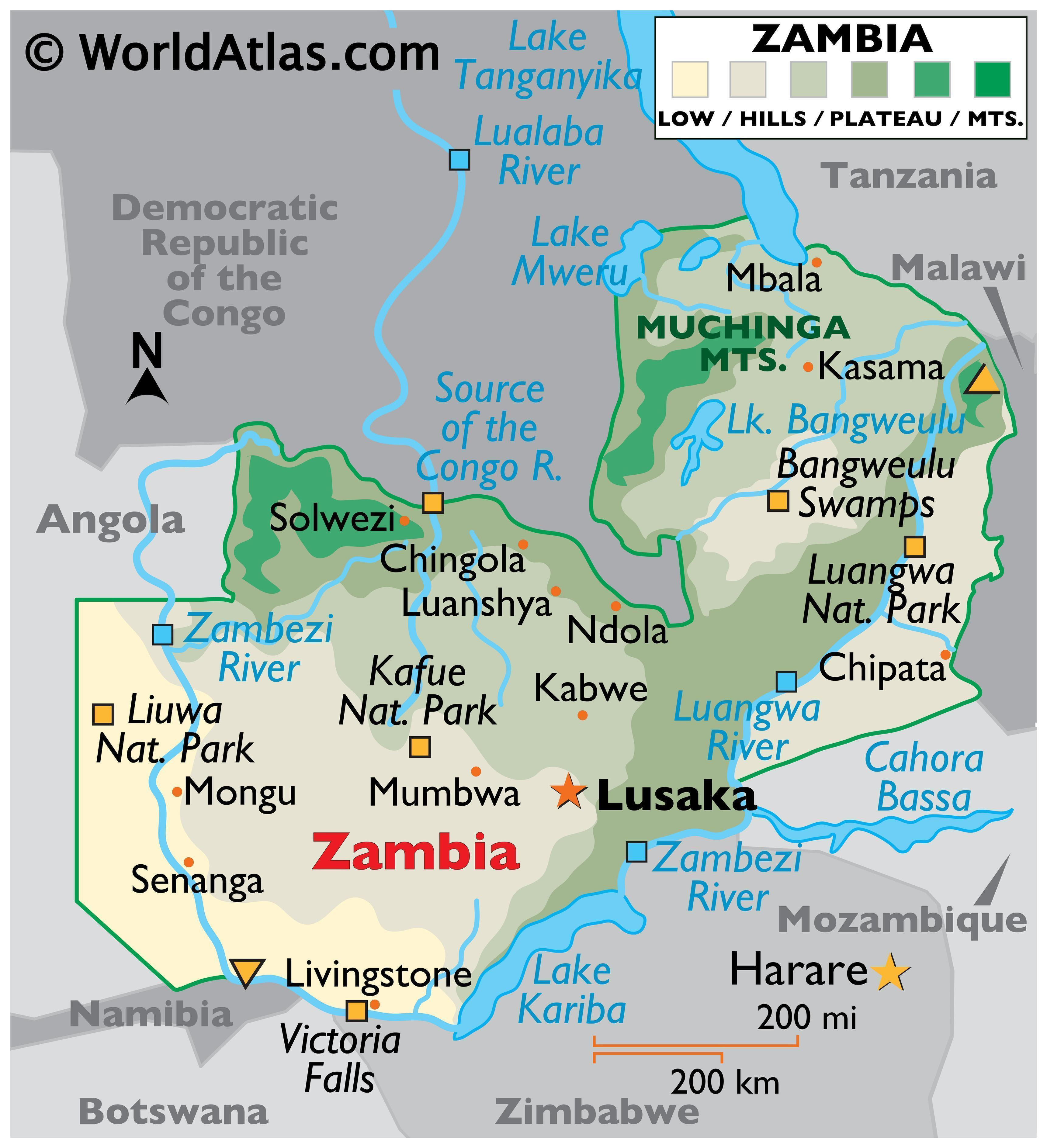 map of zambia africa
