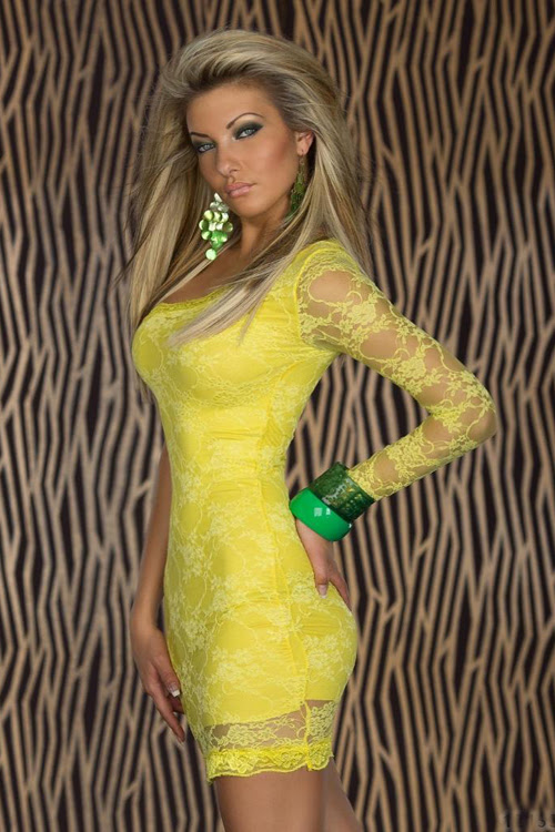 Big girls bodycon bright dress yellow shoulder one lace tall