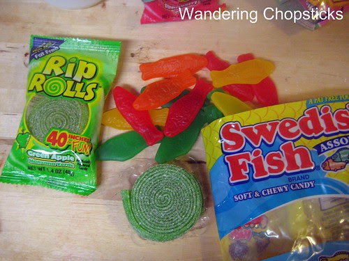 Dessert Sushi with Swedish Fish Candy and Rice Krispies Treats 4