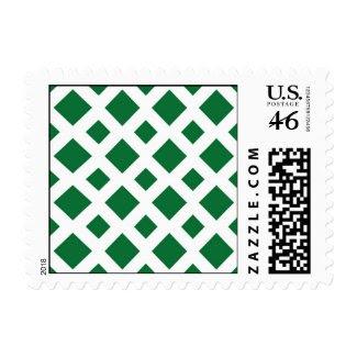 Green Diamonds on White Stamp