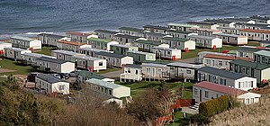 English: The caravan park at Pease Bay A high ...