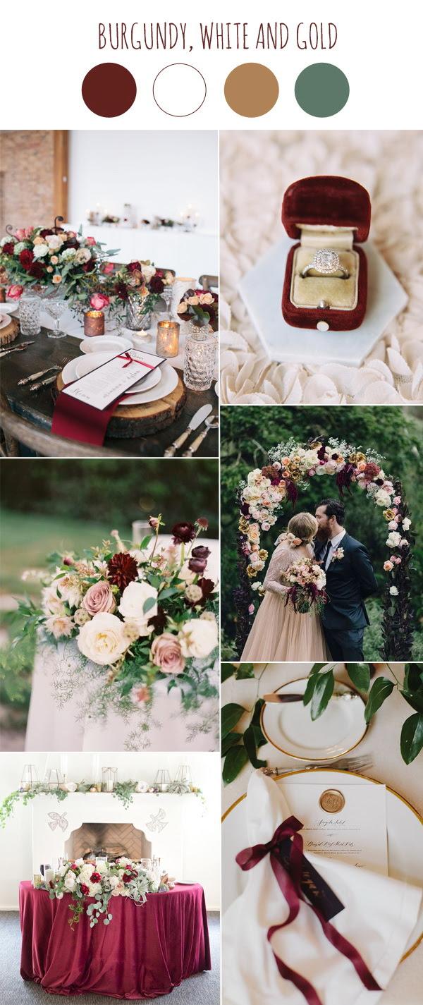 2017 Wedding Color Scheme Trends Burgundy And White Stylish Wedd Blog