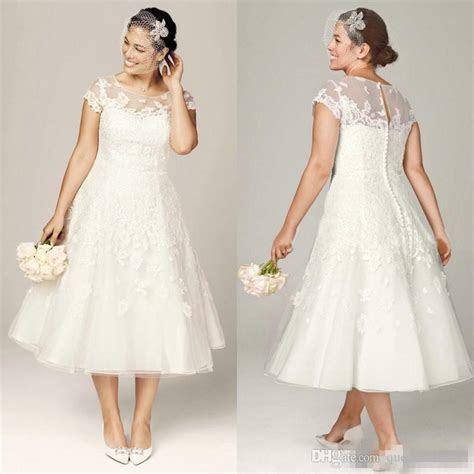 Discount 2017 Plus Size Wedding Dresses Tea Length Bridal