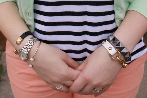 Peacy mint outfit: Peach Gap khakis, striped Gap tank, mint green J. Crew cardigan, pearl and coral sandals