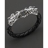 "John Hardy ""Naga"" Black Woven Leather Dragon Bracelet"