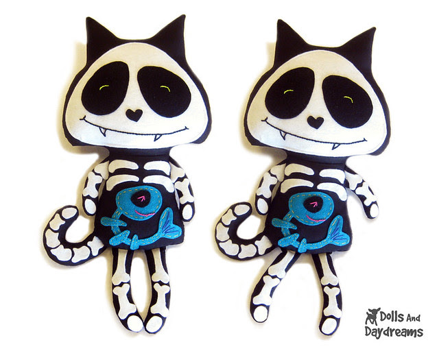 Skeleton cat sewing pattern Halloween day of the dead softie