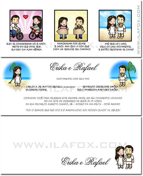 Convite em tirinhas, convite personalizado, convite para noivos, by ila fox