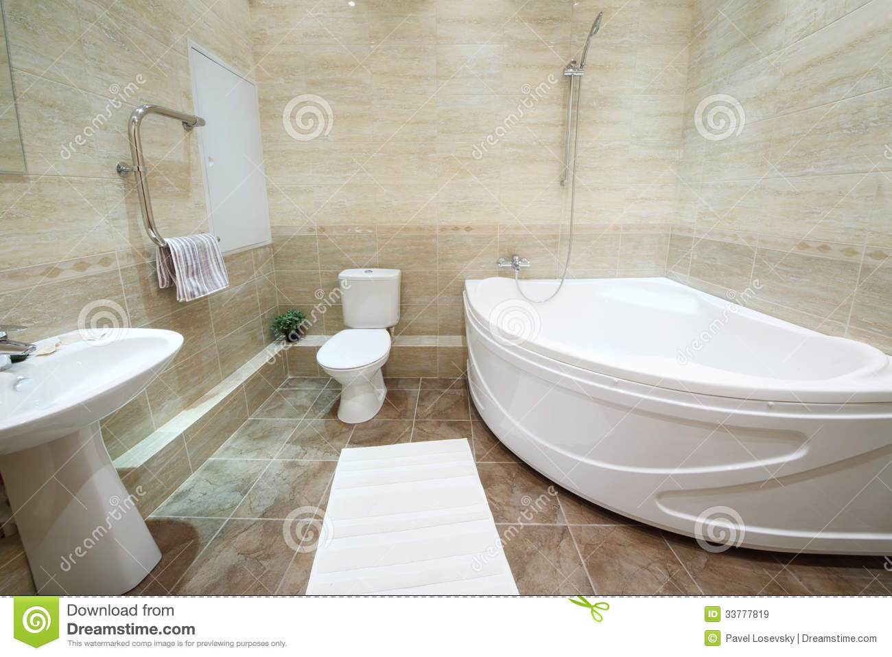 Light And Clean Bathroom With Toilet With Tiles On Floor ...