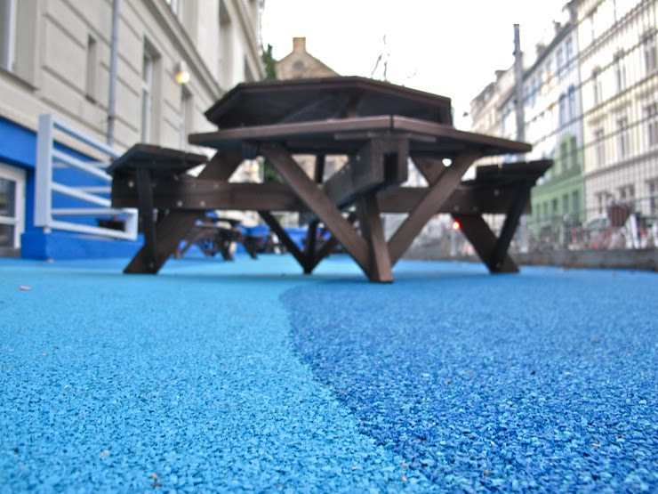 Bouncy blue schoolyard