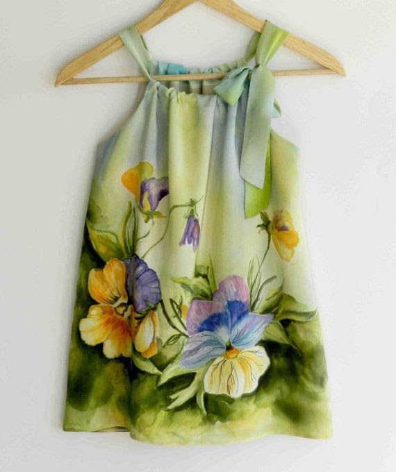 Flower silk dress hand painted for kids.Pansy hand painted dress.Pillowcase silk dress. Made to order.