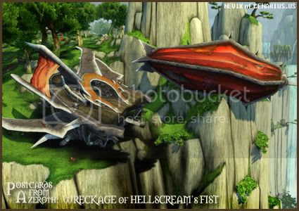 Rioriel and Nevik's daily World of Warcraft screenshot presentation of significant locations, players, memorable characters and events, assembled in the style of a series of collectible postcards. -- Postcards of Azeroth: Wreckage of Hellscream's Fist