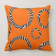 Jumbo Orange, Black, White Striped Circles Pillow throwpillow