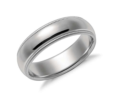 milgrain comfort fit wedding ring  platinum mm blue